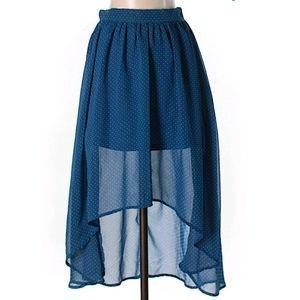High low polka dot skirt